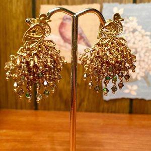 Peacock Mobile Crystal Earrings